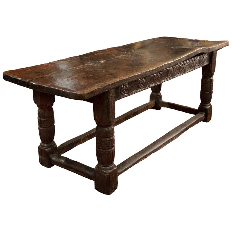 16th Century Tudor Carved Oak Refectory Table With Plank Top And ...