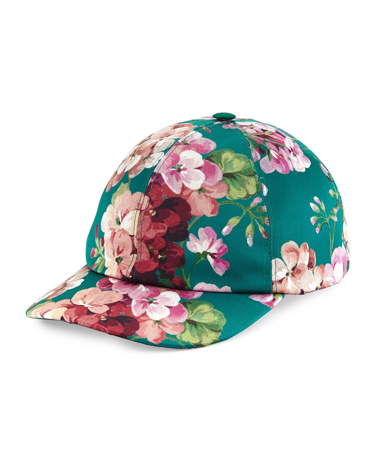3f61253cdf9 Gucci satin baseball cap in floral print. Paneled crown with top button.  Adjustable hat band. Narrow brim. Polyester. Made in Italy.