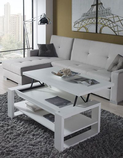 agencez votre espace salon avec la table basse relevable blanc moderne aragon top tendance. Black Bedroom Furniture Sets. Home Design Ideas