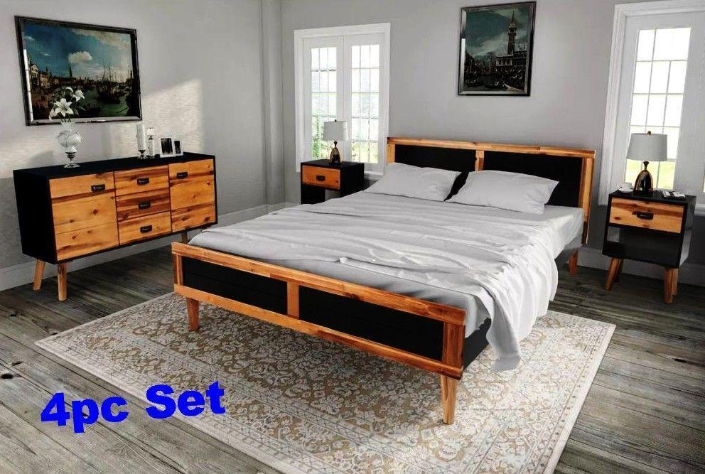 Complete Bedroom Furniture Set Full Wood Retro Bed Frame Cabinets