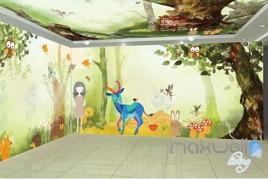 Tree House Animals Entire Room Wallpaper Wall Murals Art Print ...
