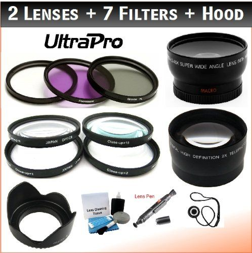 52mm Lens Kit 2X Telephoto Lens 3-pc Filter Kit 0.45x HD Wide Angle Lens w//Macro UltraPro Bundle Includes: Microfiber Cloth UV, CPL, FLD Hero 4 Cameras for GoPro Hero 3+ Lens Cleaning Pen
