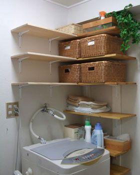 狭い洗面所 脱衣所の収納アイデア 100均シンク画像ダイソーセリア