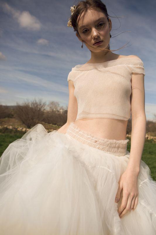 falda julia top lola. vestido de novia dos piezas cuerpo tul plisado
