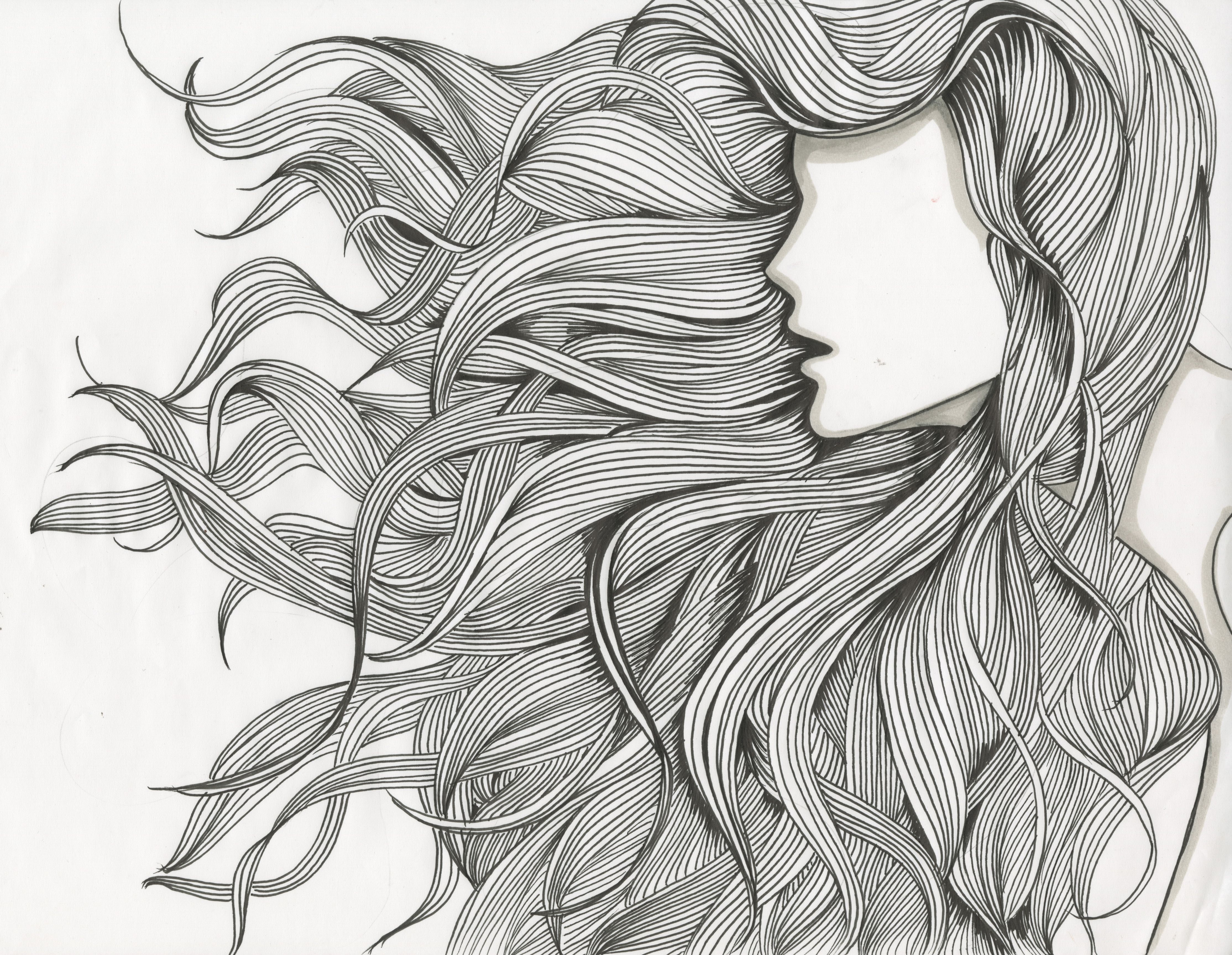 Hair Flow Art Drawings Abstract Portrait