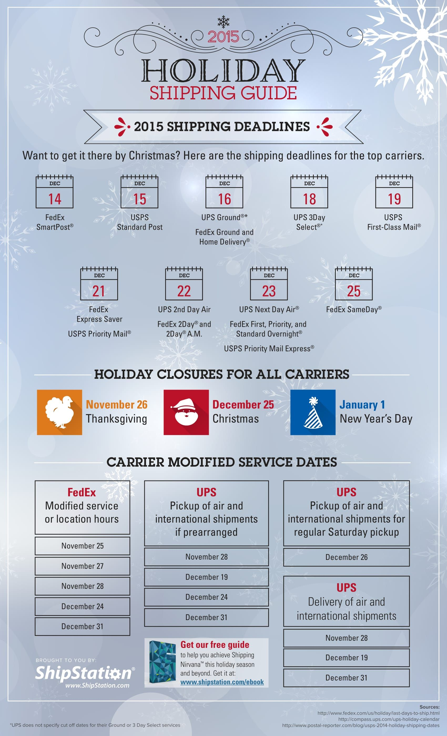 holiday shipping deadlines 2015 Google Search Holiday