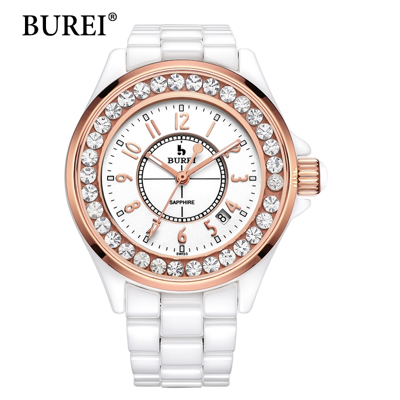 57.27$  Watch here - http://alihw4.shopchina.info/go.php?t=32753352141 - BUREI Women Watches Top Fashion Brand Diamond Sapphire Lens Date Clock Ceramic Band Female Digital Quartz Wristwatches Hot Sale  57.27$ #aliexpress