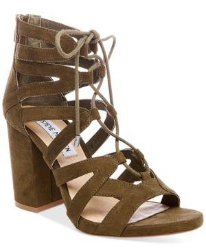 222b5099001 Steve Madden Women s Gal Lace-Up Sandals - Green 9.5M