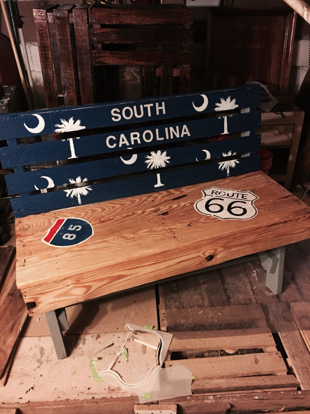 SC Bench Made Out Of Pallets Hand Paint