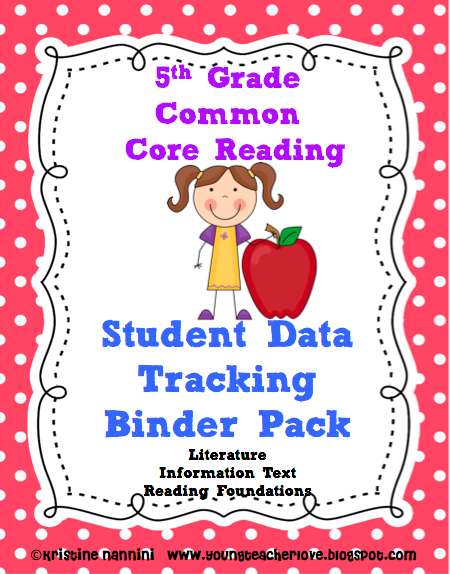 """This is the latest from YoungTeacherLove!! My student data tracking binders are now aligned to Reading and Writing Common Core State Standards. Students can rate their learning, graph pre and post assessments, and keep track of the standards with """"I can"""" checklists written in kid language! Check out her blog at: www.youngteacherl... to get the step-by-step on how to set these binders up!"""