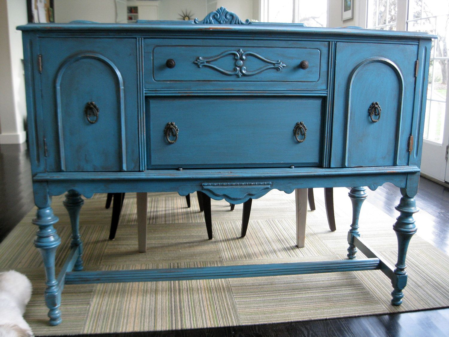 Antique Sideboard Server Buffet Teal Blue by