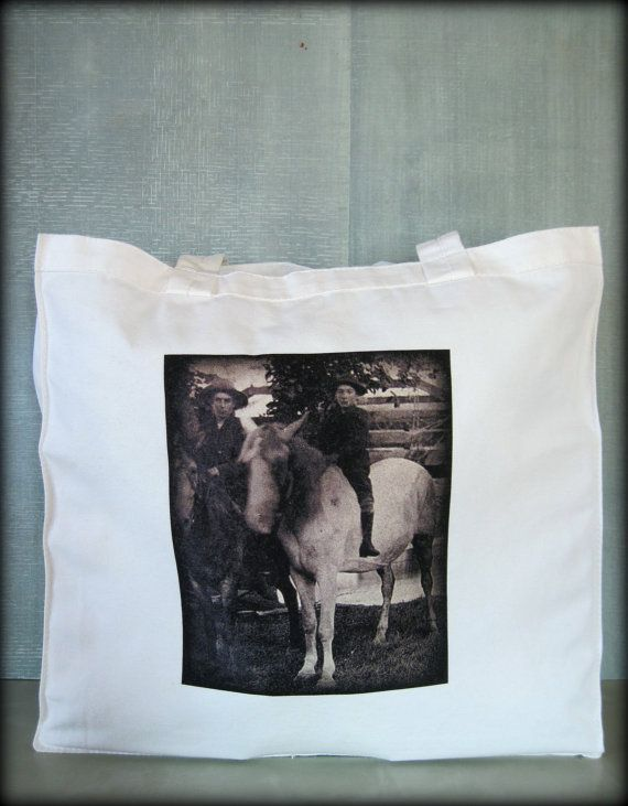 Tintype Tote  Two Boys On Horses by ScarlettSlipper on Etsy