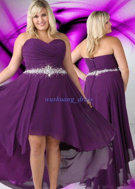 8b00b1c430b Gorgeous Plus-Size chiffon Beaded Evening Dress Prom Gown Sleeveless front  short and long back Party Dress US  121.00