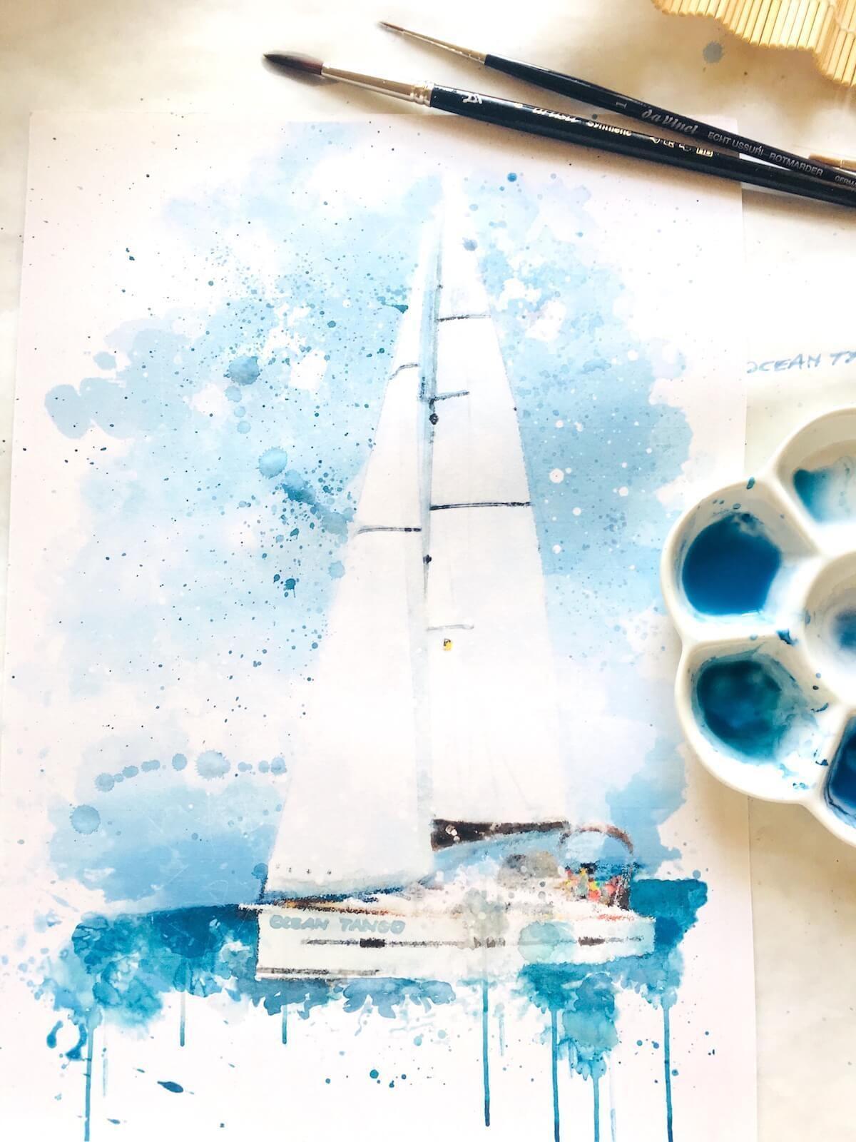 Aquarell Segelboot Unter Blauem Himmel Aquarell Segelboot