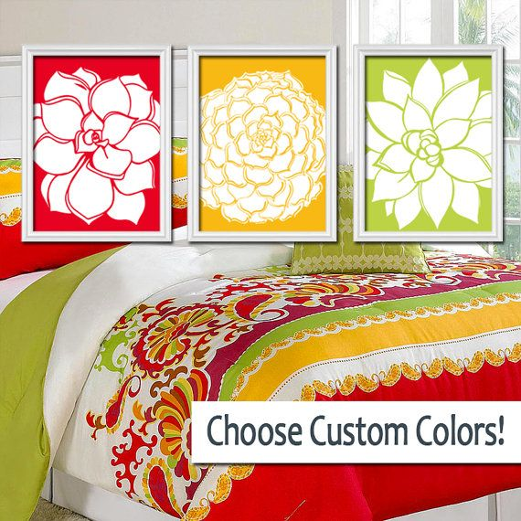 Bedroom Wall Art Canvas Artwork Red Gold Yellow Lime by TRMdesign ...