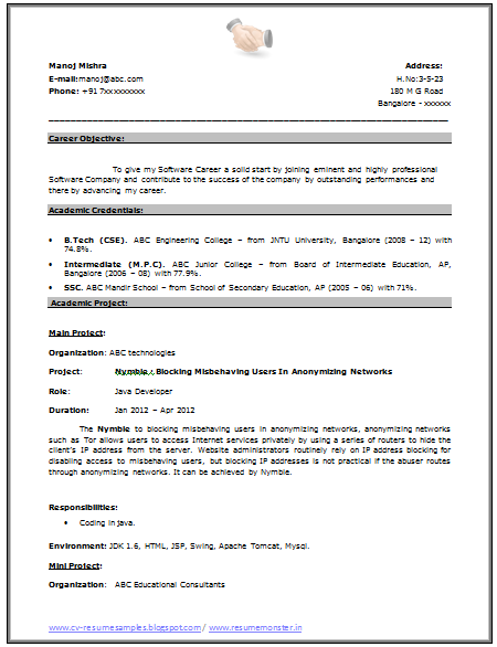 resume title for mca fresher