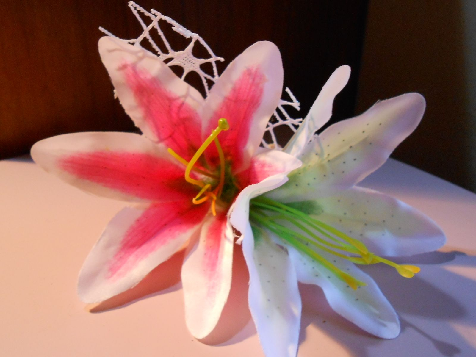 Tropical Fascinator Hair Flower Net Seashell Clip Lily Accessory