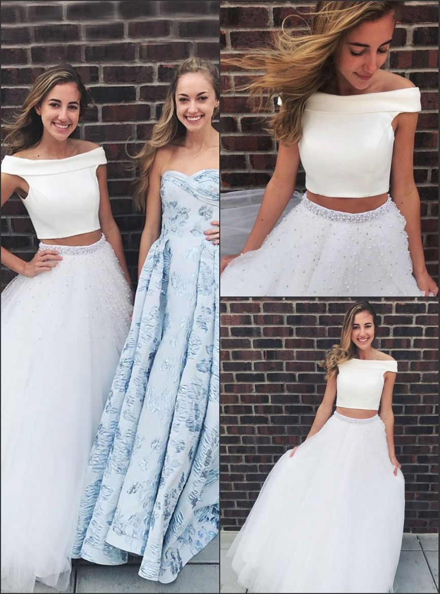 Two piece offtheshoulder floorlength white prom dress with