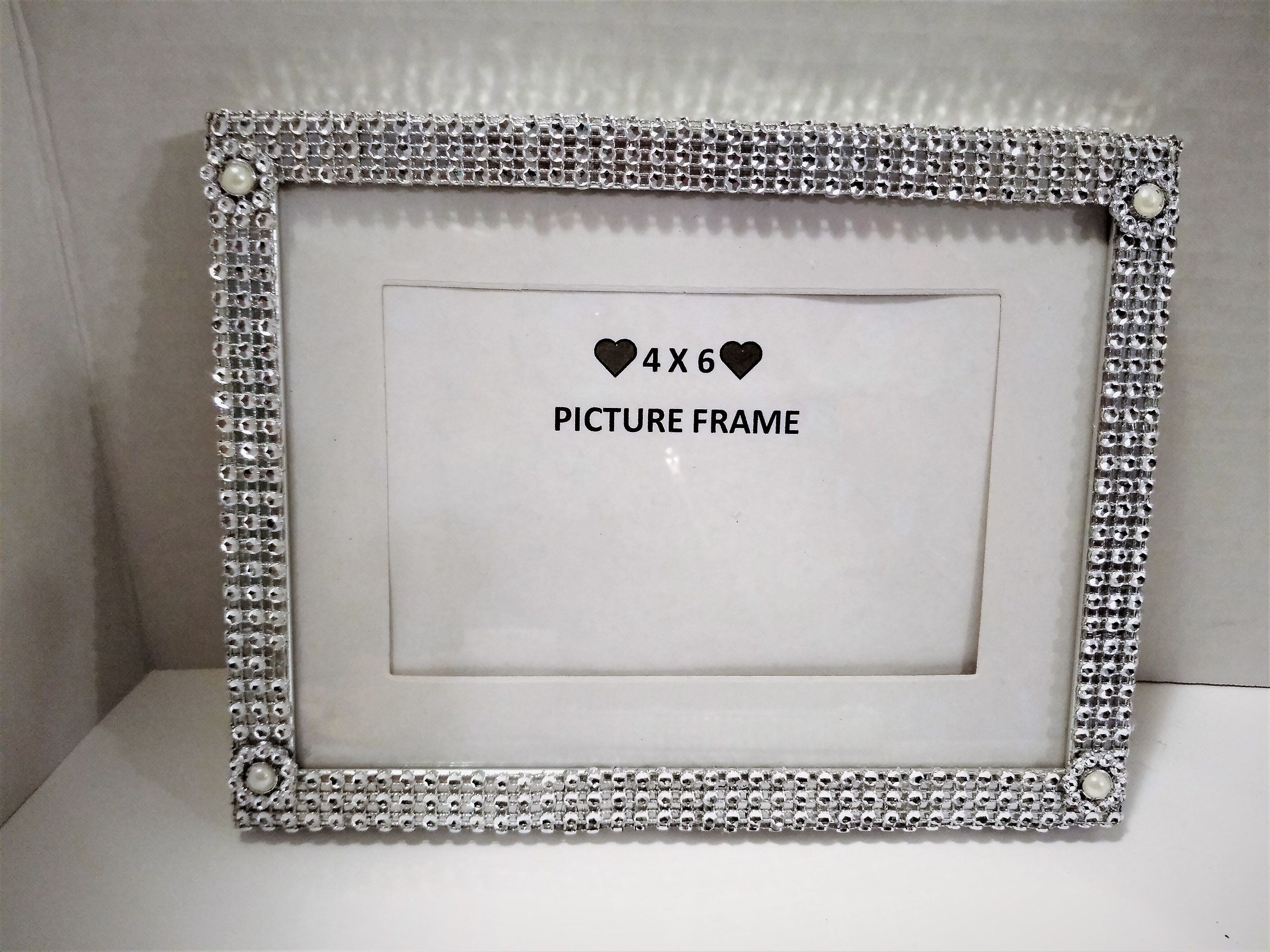 4x6 Silver Picture Frame Rhinestone Trim Picture Frame Etsy In 2021 Silver Picture Frames Picture Frames Bling Picture Frames
