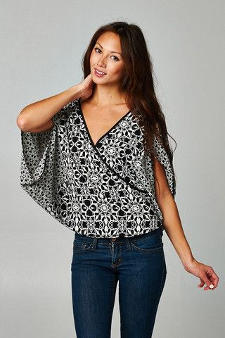 Black and White Criss Cross Blouse – Lil Nook Corp