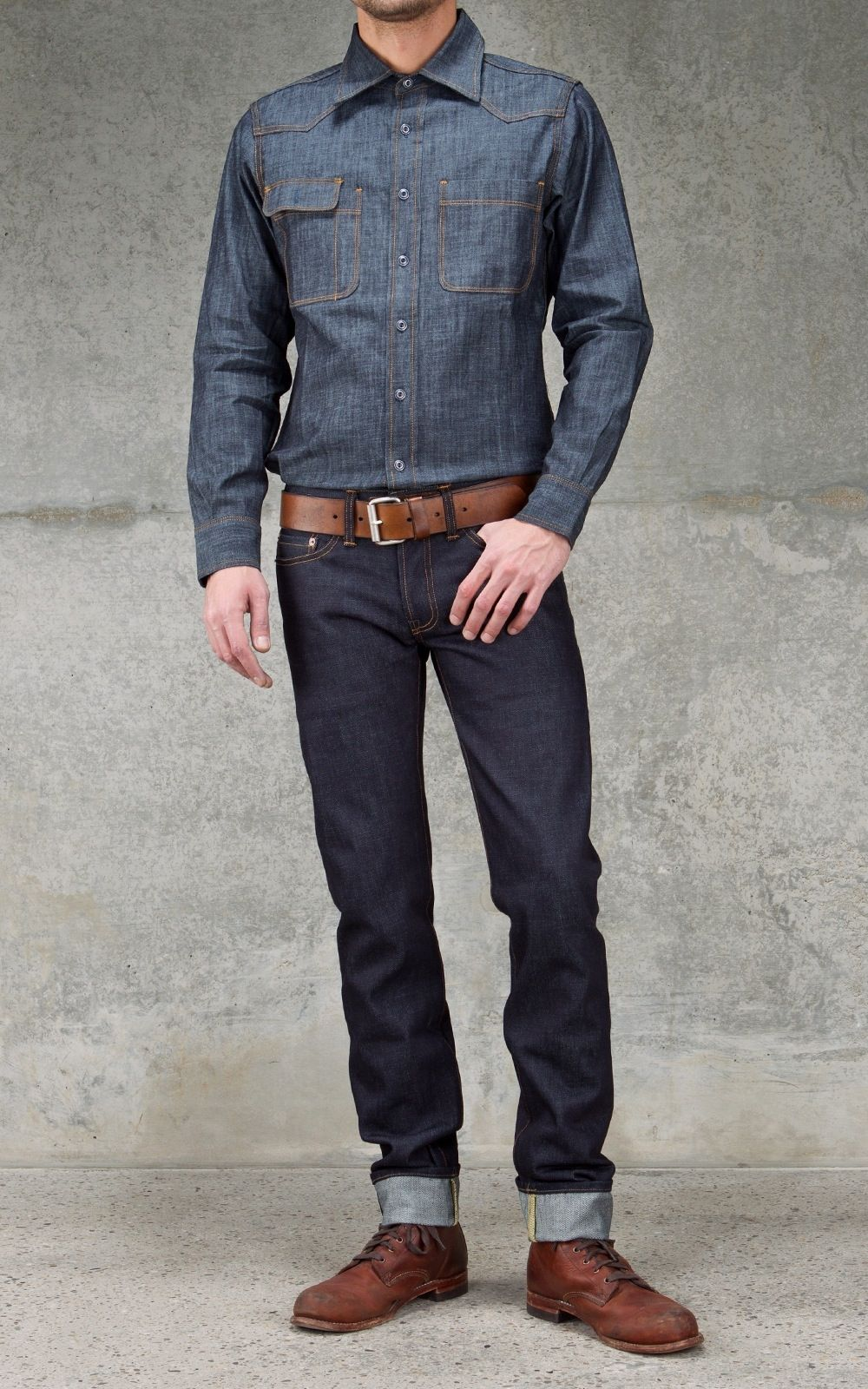 2e6bb2eb98 I think these are Wolverine 1000 Mile boots) with Tellason denim ...