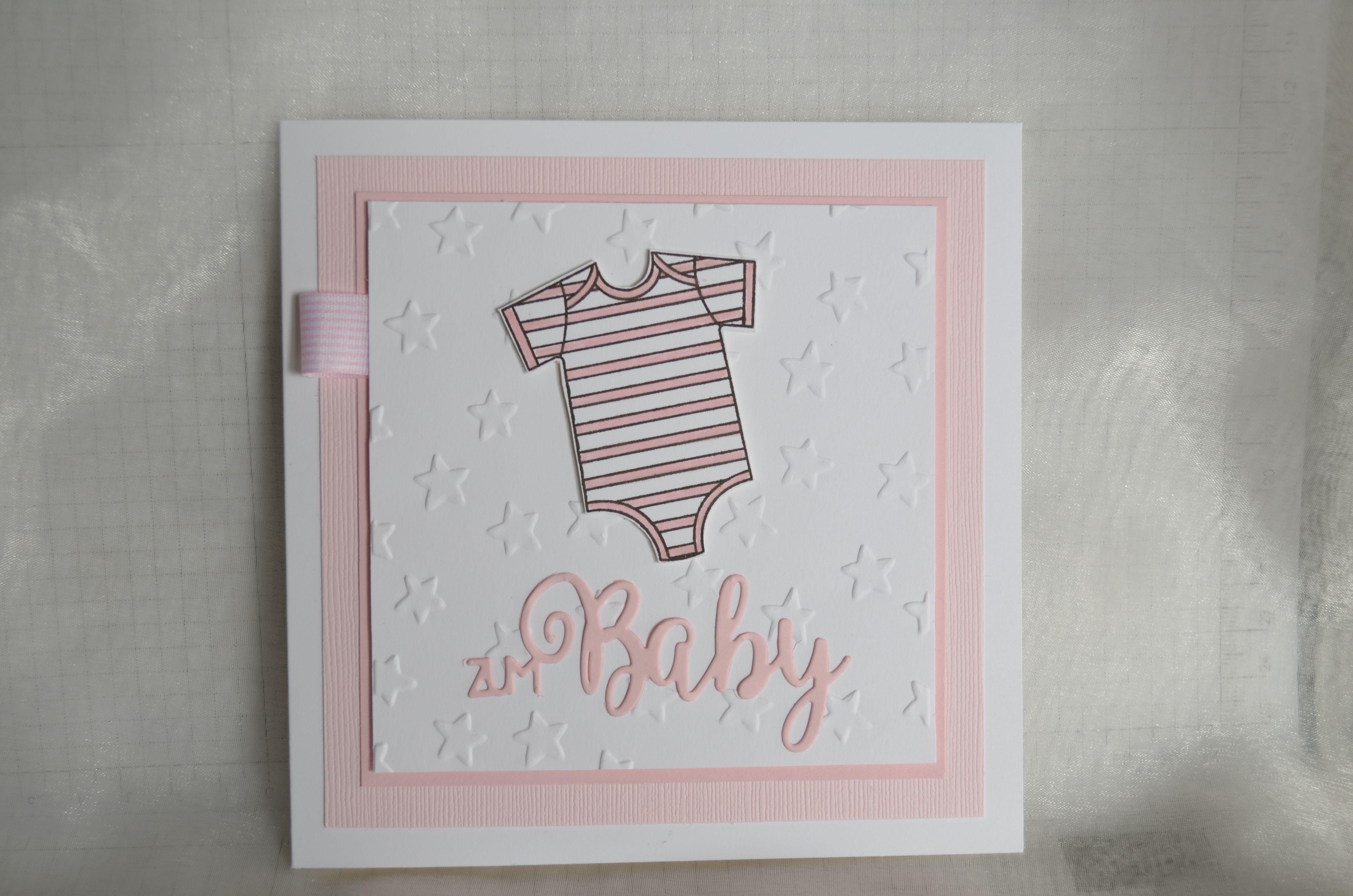 Babykarte Madchen Cs Flusterweiss Und Puderrosa Stempelset Zum