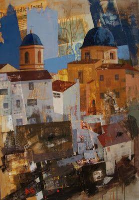 Urbana Rustica VII - Iglesia de Santa María Requena. Concurso de Rápida Collage + Acrílico  116 X 81 cm..  2010. Seleccionado en: V Bienal de Pintura de Manises Valencia 2010.