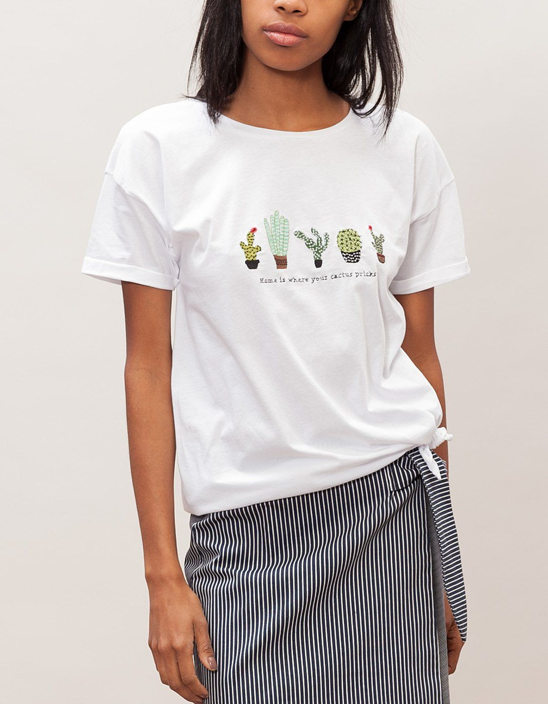 Stradivarius Cactus Camiseta Para Mujer En Encontrarás 1 Por Nudo D9EH2WI