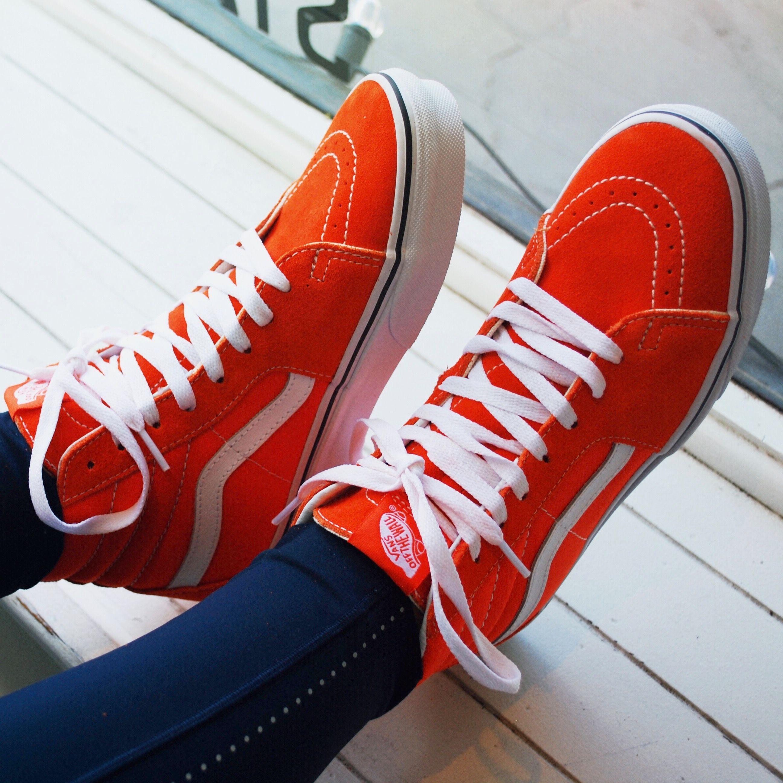 Orange vans, Custom vans shoes, Vans sk8