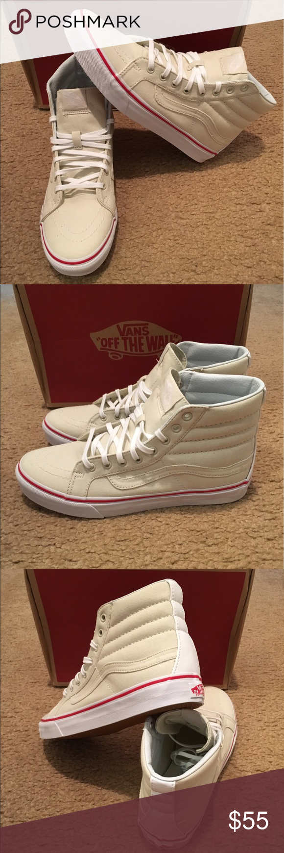 b1ad93f29f Vans Leather Canvas SK8Hi Slim New in box. Bone true white Vans Shoes  Sneakers