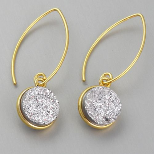 Shimmering Grey Druzy Quartz Earrings - Gold Vermeil Marquis Ear Wires