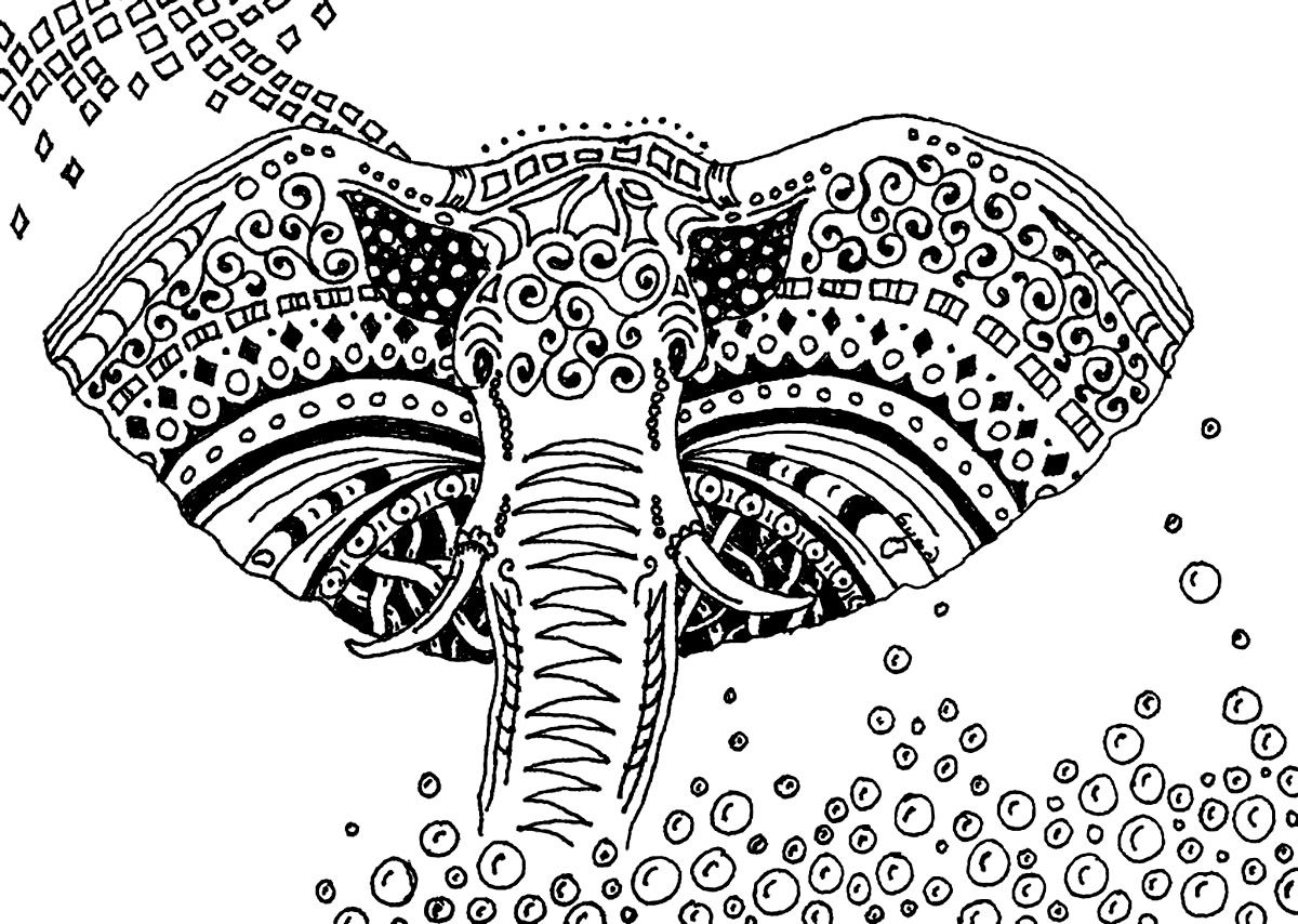 Free coloring page coloring-adult-africa-elephant. Simple black ...