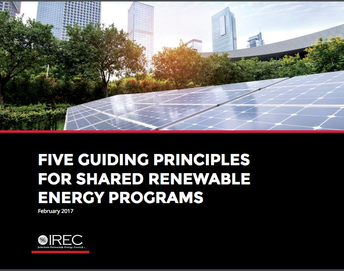 Guiding Principles for Shared Renewable Energy Programs – Interstate Renewable Energy Council