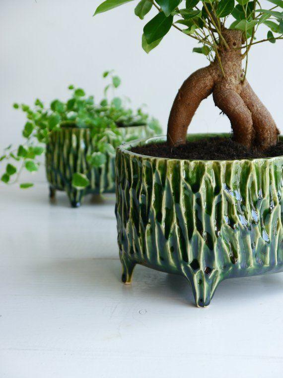 Green flower pot ceramic flower pot pot on legs flower pot #flowerpot