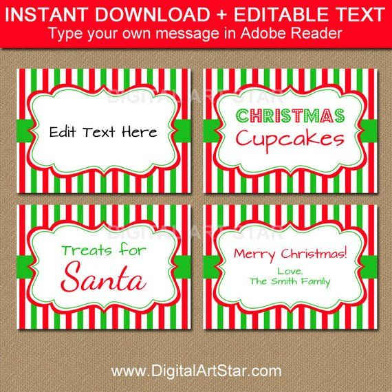Printable Christmas Food Labels Tent Cards Christmas Place