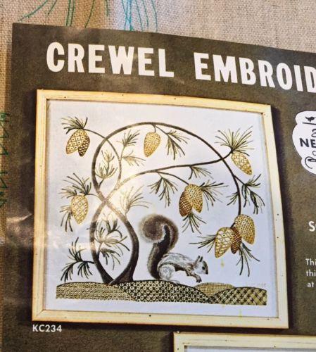 Elsa Williams Crewel Embroidery Kc234 Jacobean Squirrel Pinecone Kit