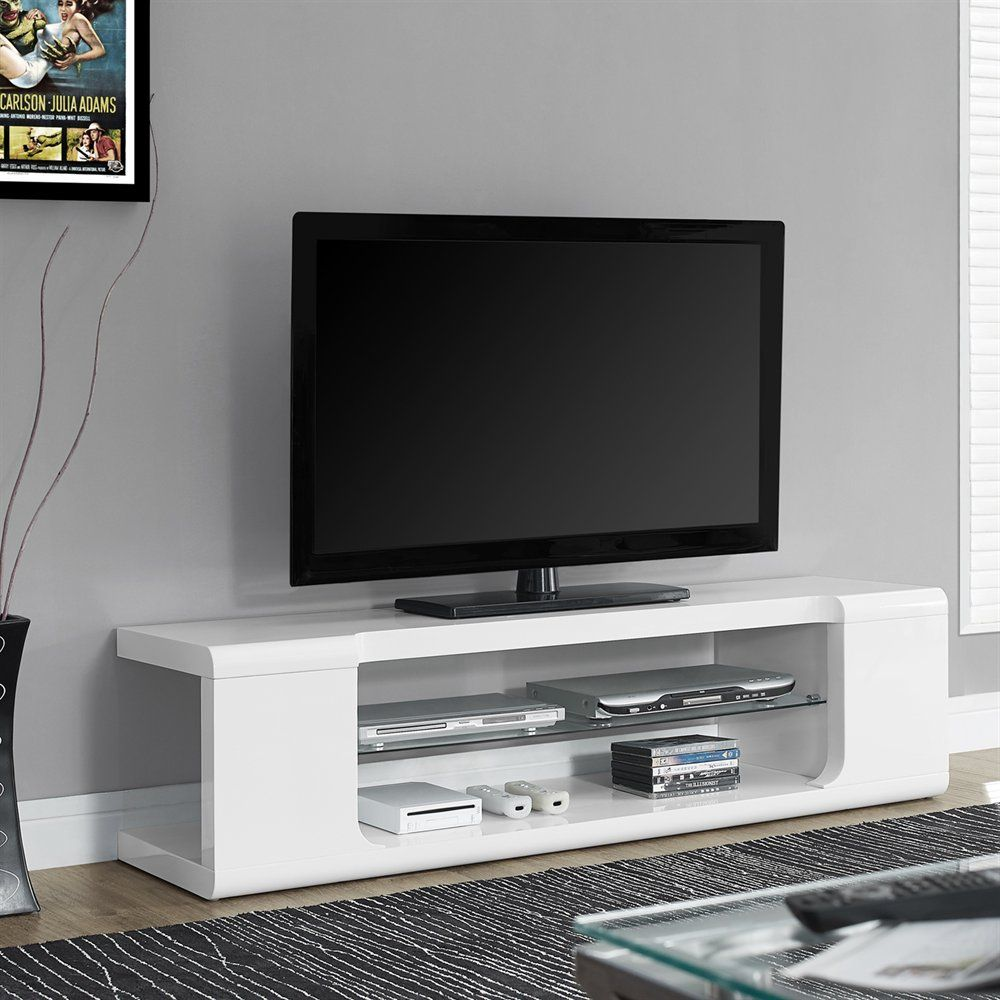 Monarch Specialties I 353 High Gloss 60 In Tv Console Tv Console White Tv Stands 60 Tv Stand