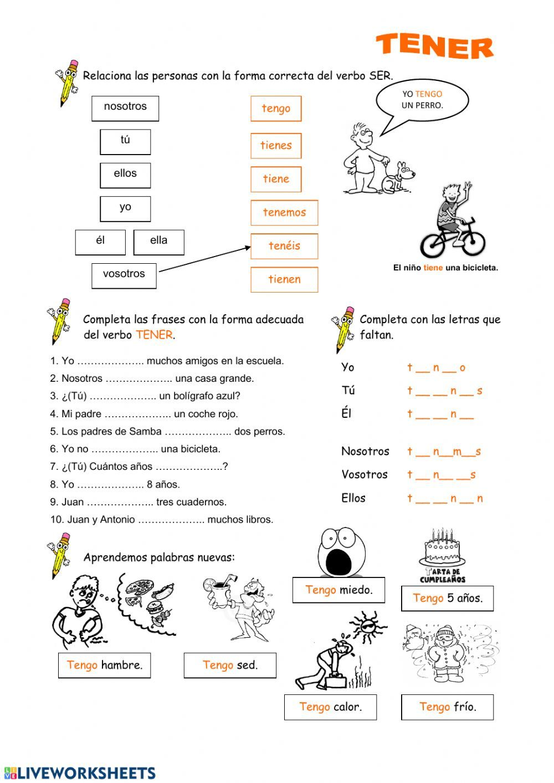 Tener Interactive Worksheet Spanish Worksheets Spanish Learning Activities Spanish Exercises [ 1413 x 1000 Pixel ]