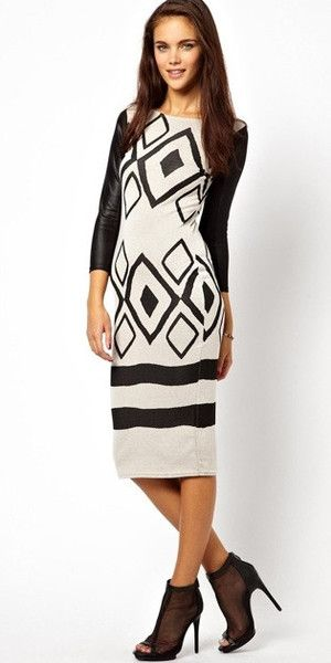 Printed Leather Sleeve Dress