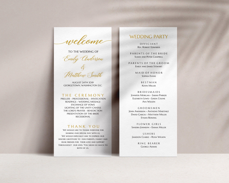 Wedding Program Gold Program Template Wedding Ceremony Etsy Wedding Programs Wedding Ceremony Programs Seating Chart Wedding Template