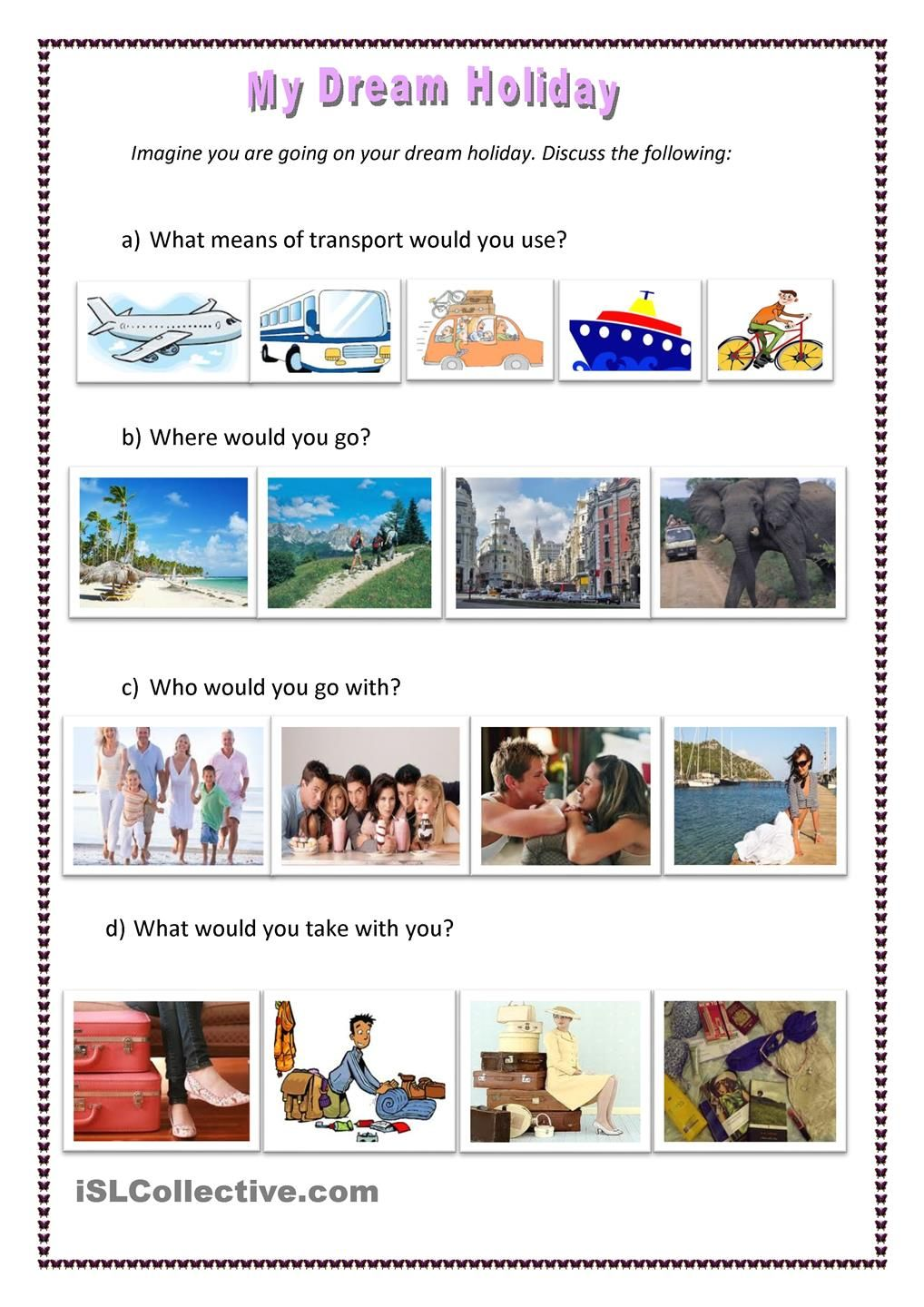 My Dream Holiday | ESL | Pinterest | Holidays, Worksheets and English