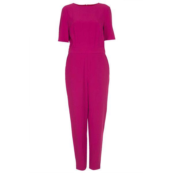 TOPSHOP Lux Matte Tshirt Jumpsuit (65 BRL) ❤ liked on Polyvore featuring jumpsuits, jumpsuit, topshop, dresses, one pieces, suit, pink, topshop jumpsuit, tailored jumpsuit and jump suit