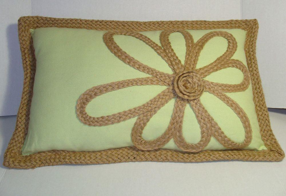 Stratford home designer pillow woven burlap jute flower for Decorative burlap fabric