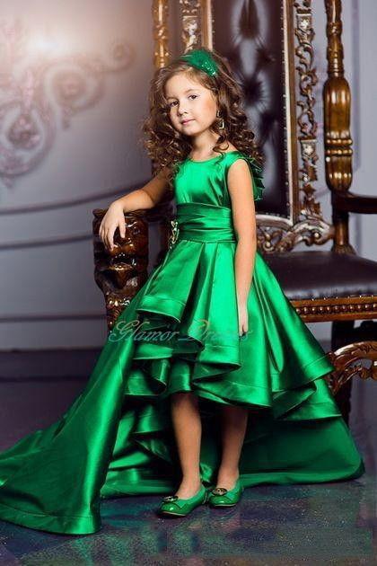 Emerald Green Girls Pageant Dresses High Low Princess Flower Girls Dresses  For Weddings Lovely Kids on Luulla ac83e8e8c25