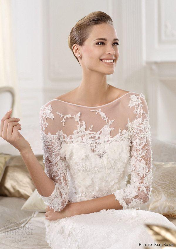 Elie By Elie Saab 2014 Cignus Three Quarter Sleeve Wedding Dress Close Up Bodice Love That Chanti Wedding Dresses Wedding Dresses 2014 Elie Saab Wedding Dress