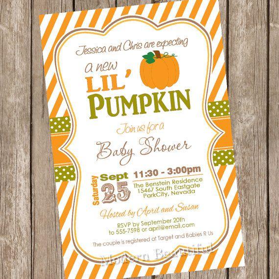 Fall Little Pumpkin Baby Shower Invitation Orange Brown Green