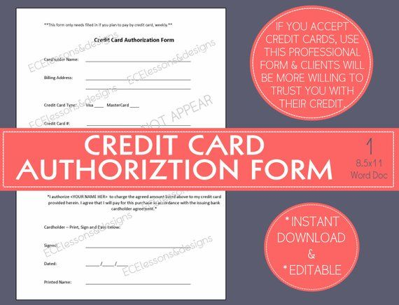 CREDIT CARD AUTHORIZATION form Small Business / Start-up / Home