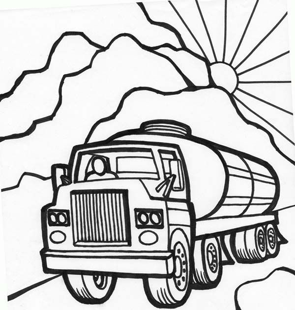 Trucks,  tanker-truck-starts-working-in-the-morning-coloring-page - copy coloring pages transportation vehicles