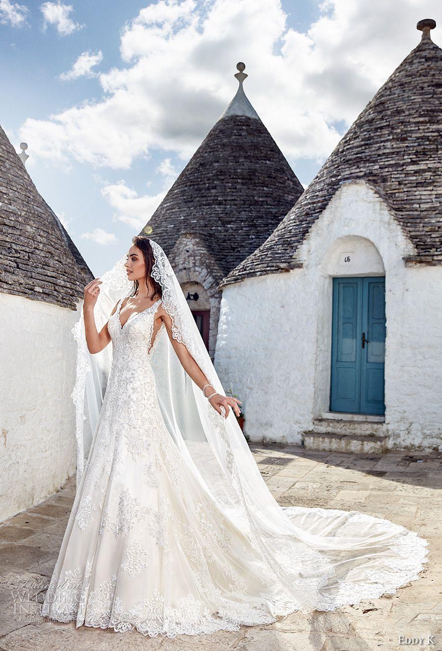 6ad8e538c4177 eddy k 2018 bridal sleeveless lace strap v neck full embellishment open  side glamorous elegant a line wedding dress open v back royal train  (adriana) mv ...