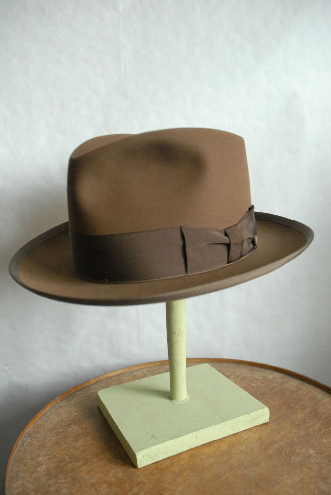 f344b503 Rare Vintage Scott Ltd Hatters NY Custom Brown Fur Felt Fedora Hat UK 7 US  7 1/8